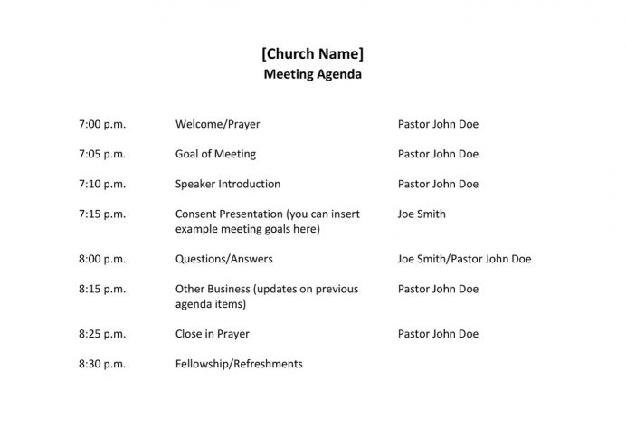 Church Meeting Agenda Sample Agenda Sample Church Meeting Agenda Template