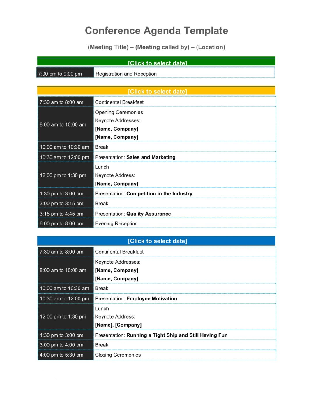 Sample Conference Agenda Template Word Pdf - Free Download Virtual One-day Design  Example Large