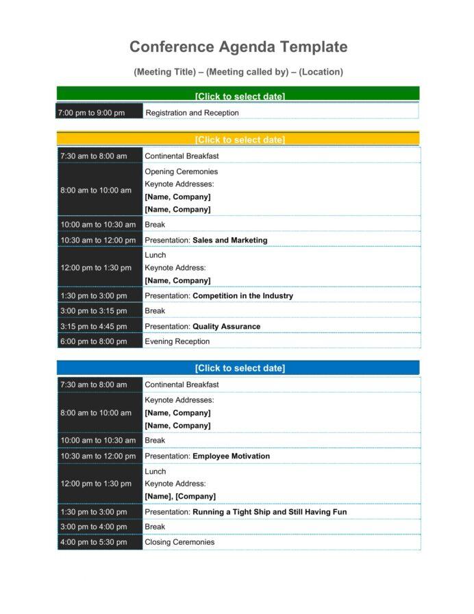 Sample Conference Agenda Template Word Agenda Example Conference Agenda Template