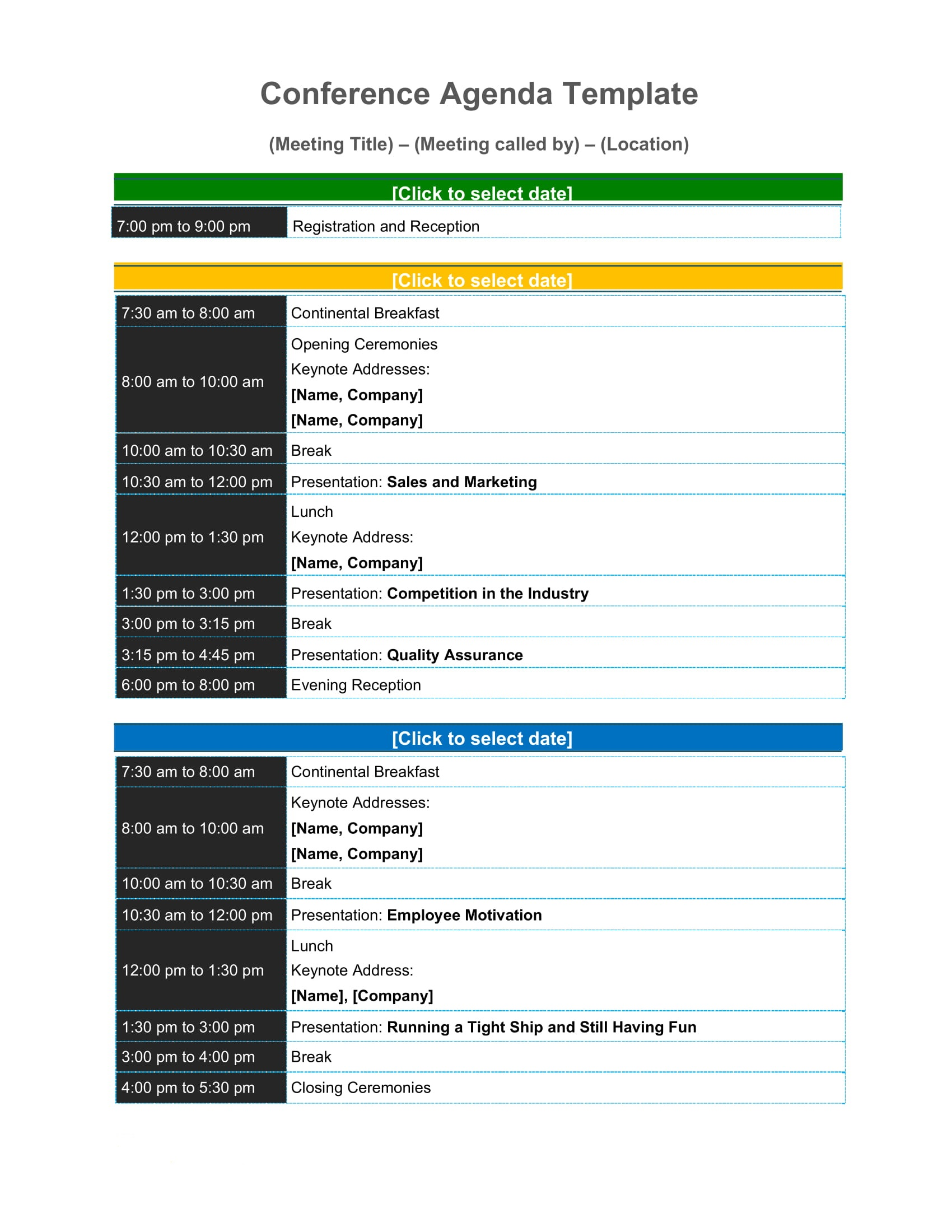 Sample Conference Agenda Template Word Pdf - Free Download Virtual One-day Design  Example Full