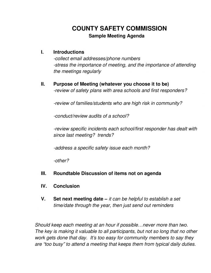 County Safety Meeting Agenda Letter Example Safety Meeting Agenda Template