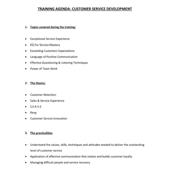 Customer Service Training Agenda PDF Sample Agenda Sample Training Agenda Template