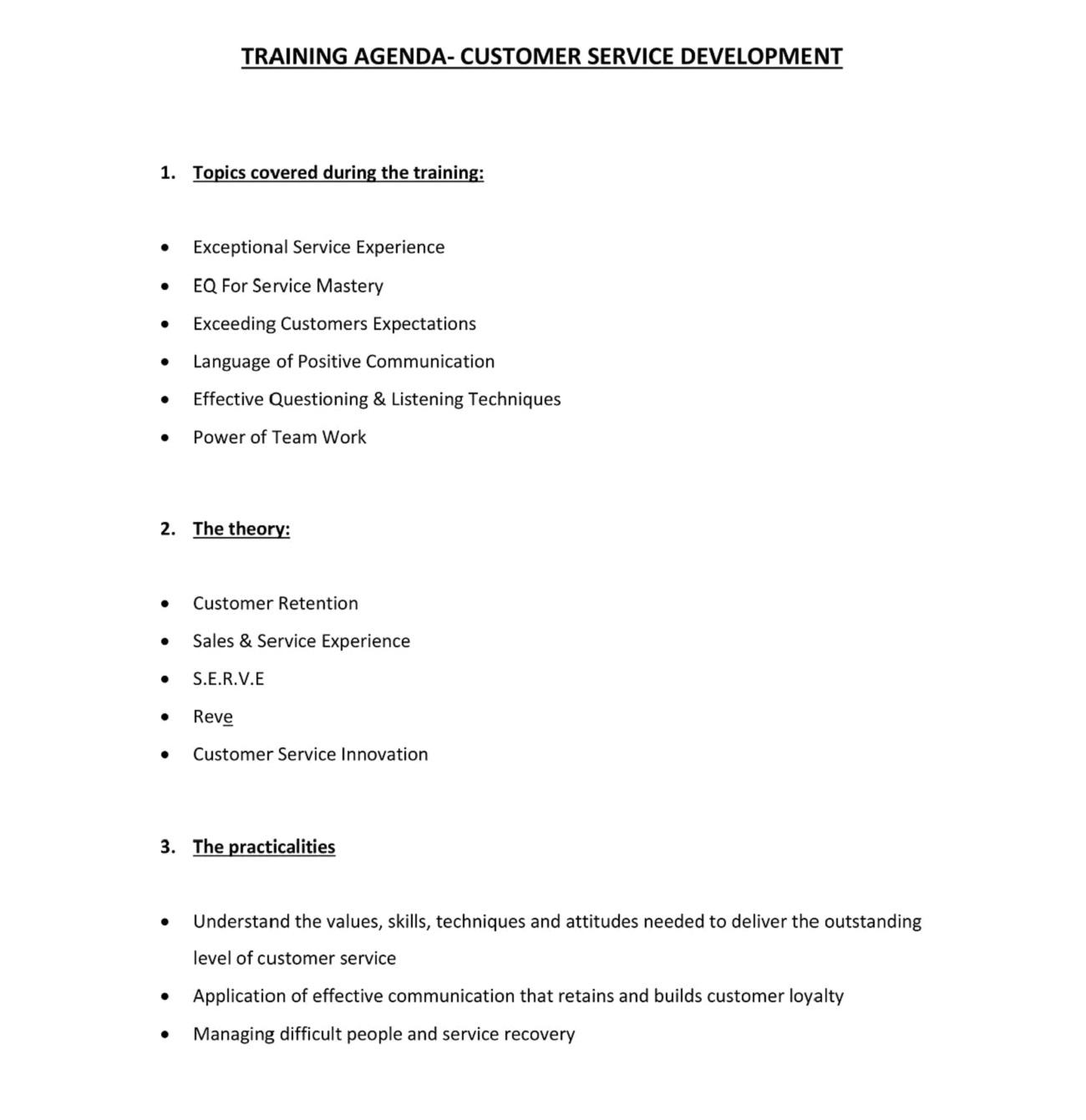 Customer Service Training Agenda PDF Sample Template Microsoft Word Ppt How To Create A Pdf Layout  Full