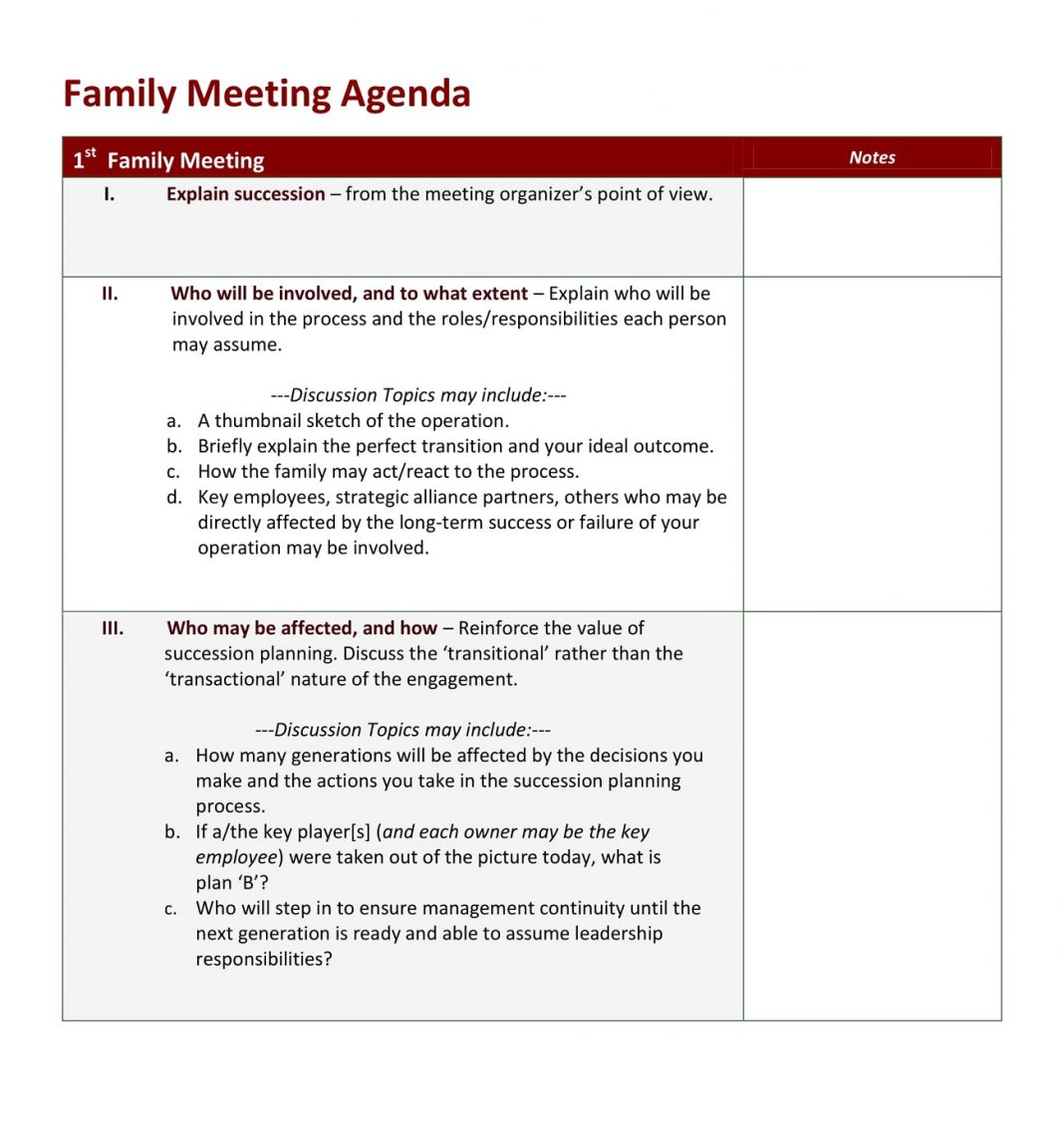 Emergency Family Meeting Agenda Example Template Of Word Sample Business  Large