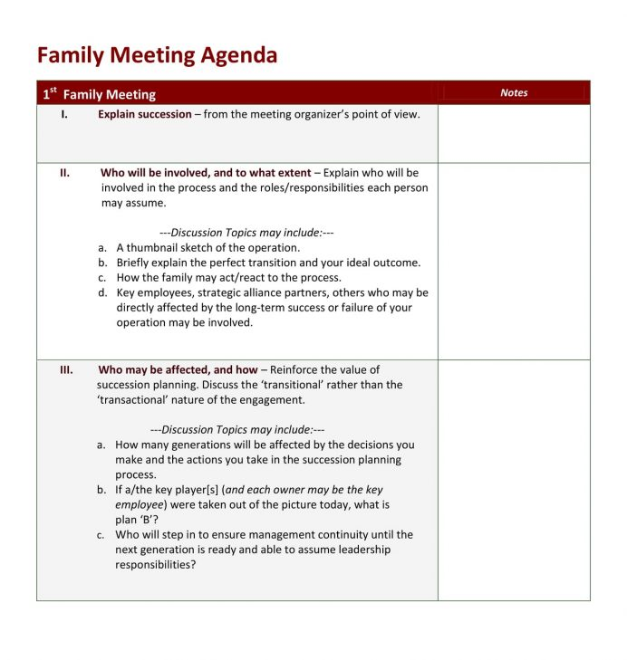 Emergency Family Meeting Agenda Example Agenda Example Family Meeting Agenda Template