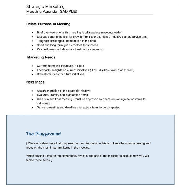 Example Marketing Strategy Meeting Agenda Agenda Sample Strategy Meeting Agenda Template