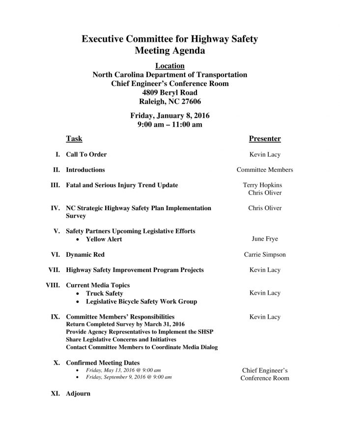 Executive Committee for Highway Safety Meeting Agenda Letter Example Safety Meeting Agenda Template