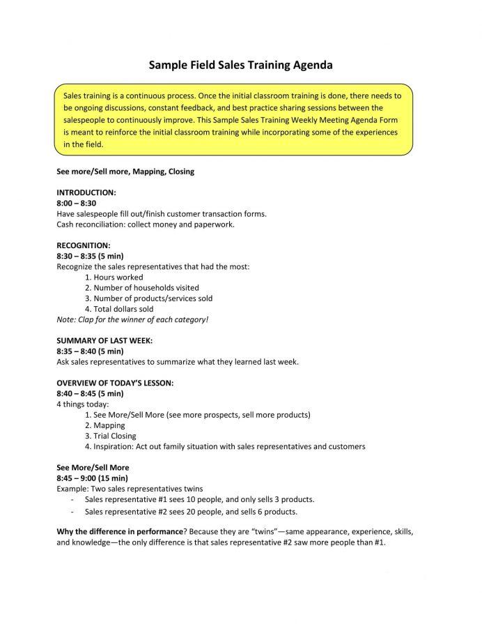 Field Sales Training Agenda Sample PDF Agenda Sample Training Agenda Template