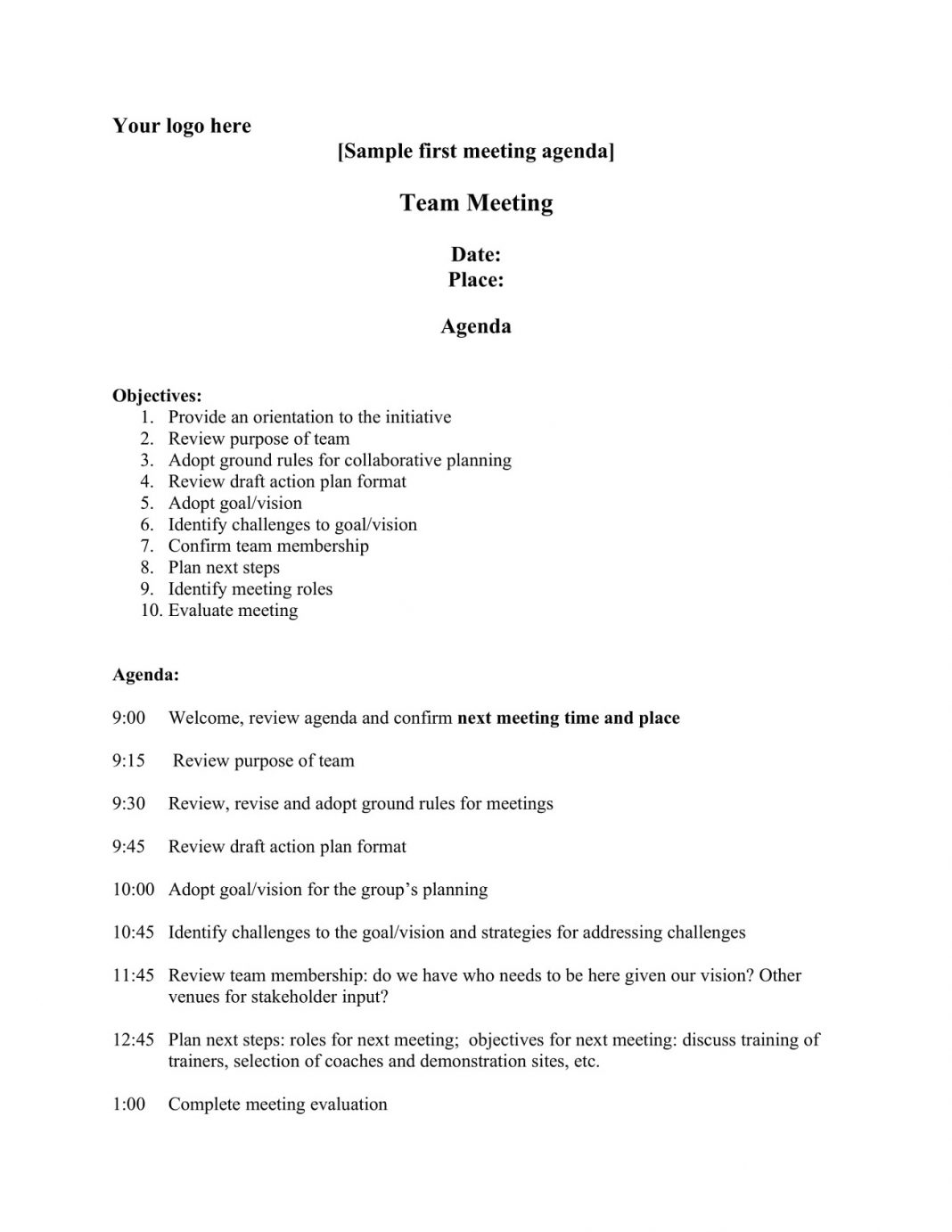 First Time Team Meeting Agenda Creative Template Weekly Word Monthly Best Excel  Example Large