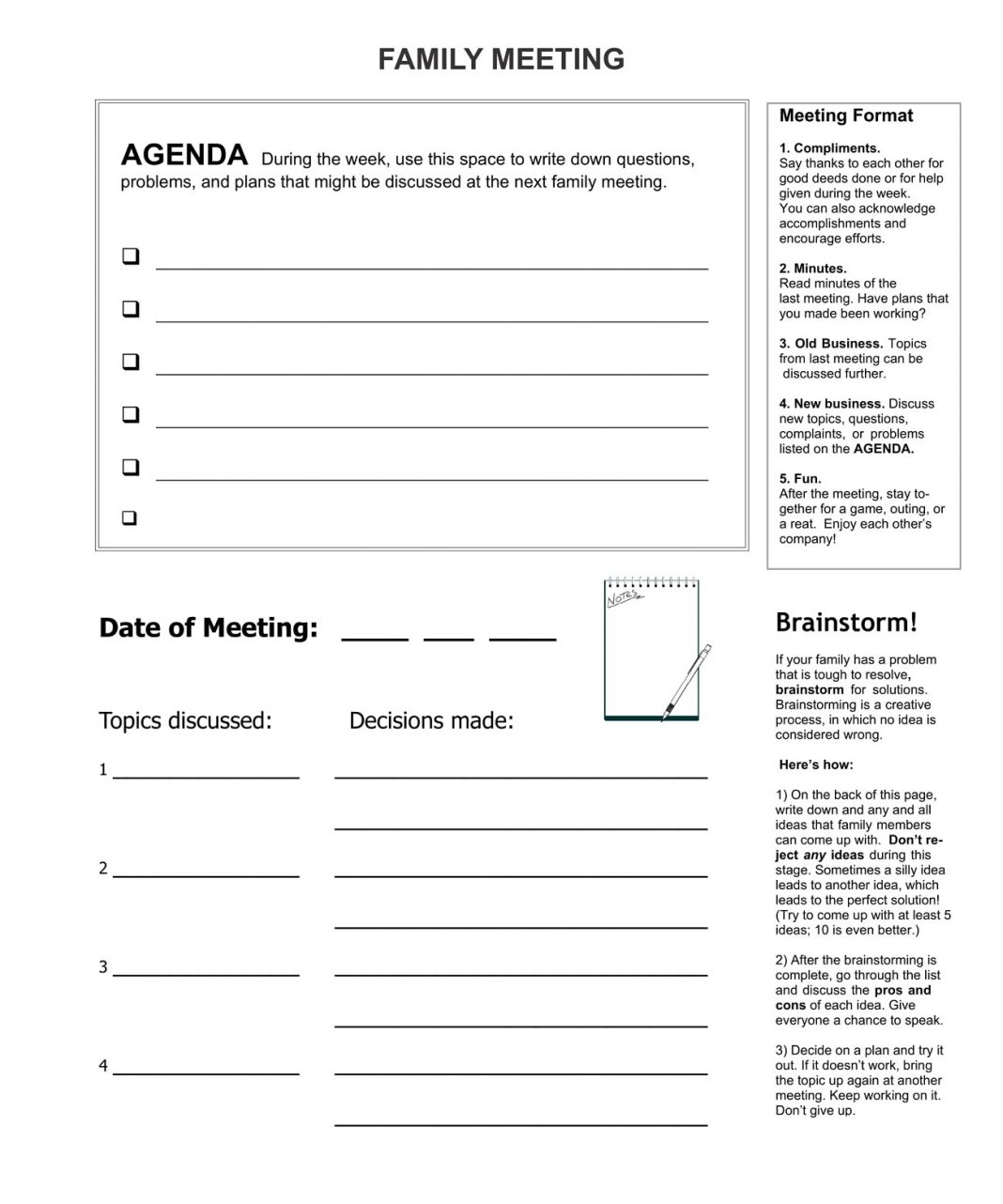 Formal Family Meeting Agenda Template Example Of Word Sample Business  Large