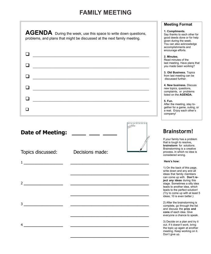 Formal Family Meeting Agenda Agenda Example Family Meeting Agenda Template