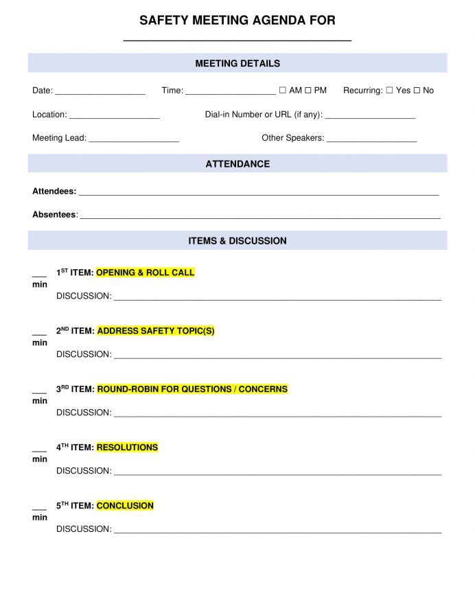 General Safety Meeting Agenda Letter Example Safety Meeting Agenda Template