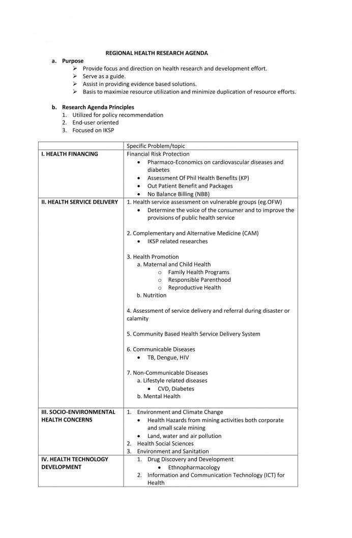 Health Research Agenda SSH Agenda Research Agenda Template Example