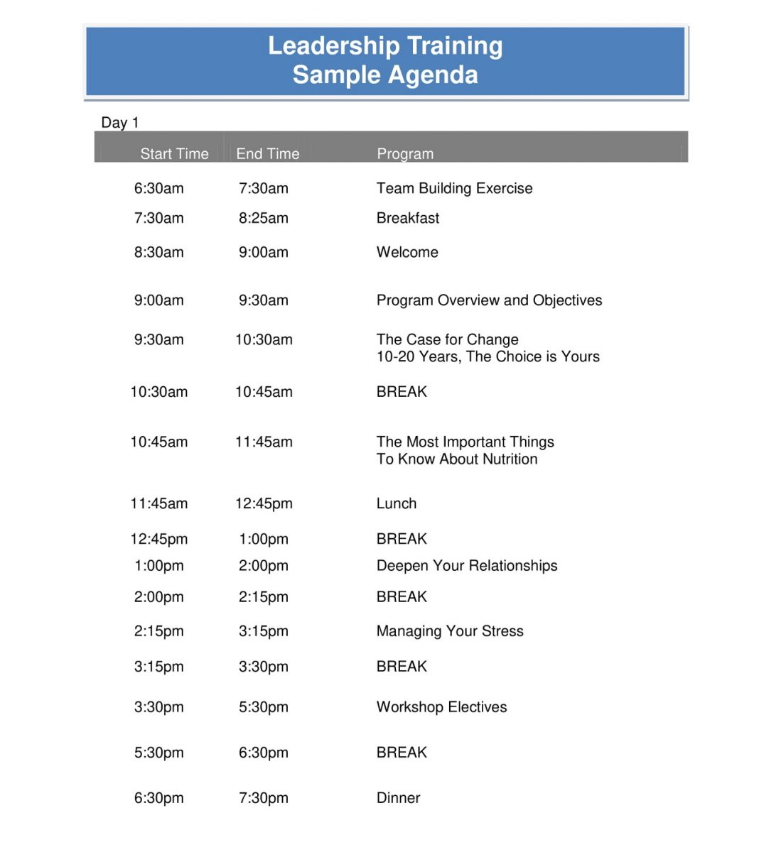 Leadership Training Agenda Sample PDF Template Microsoft Word Ppt How To Create A Pdf Layout  Large