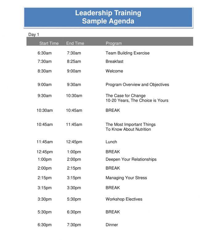 Leadership Training Agenda Sample PDF Agenda Sample Training Agenda Template