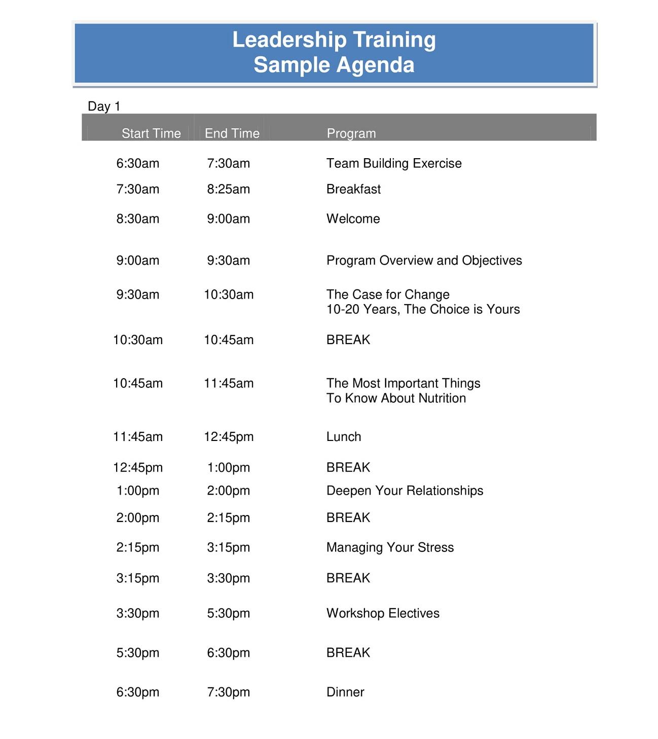 Leadership Training Agenda Sample PDF Template Microsoft Word Ppt How To Create A Pdf Layout  Full
