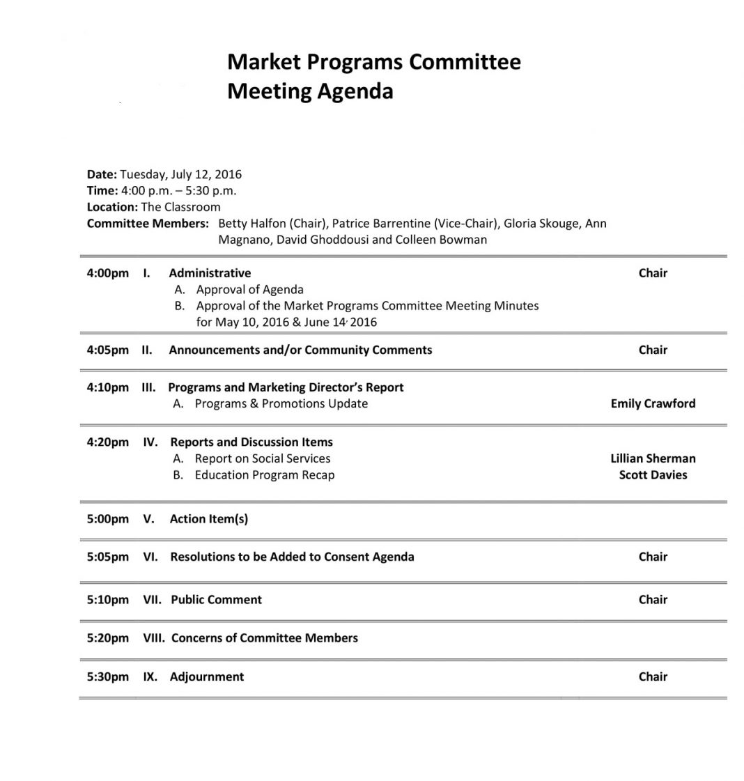 Market Programs Committee Meeting Agenda Marketing Sample Content Social Media Template Of  Example Large