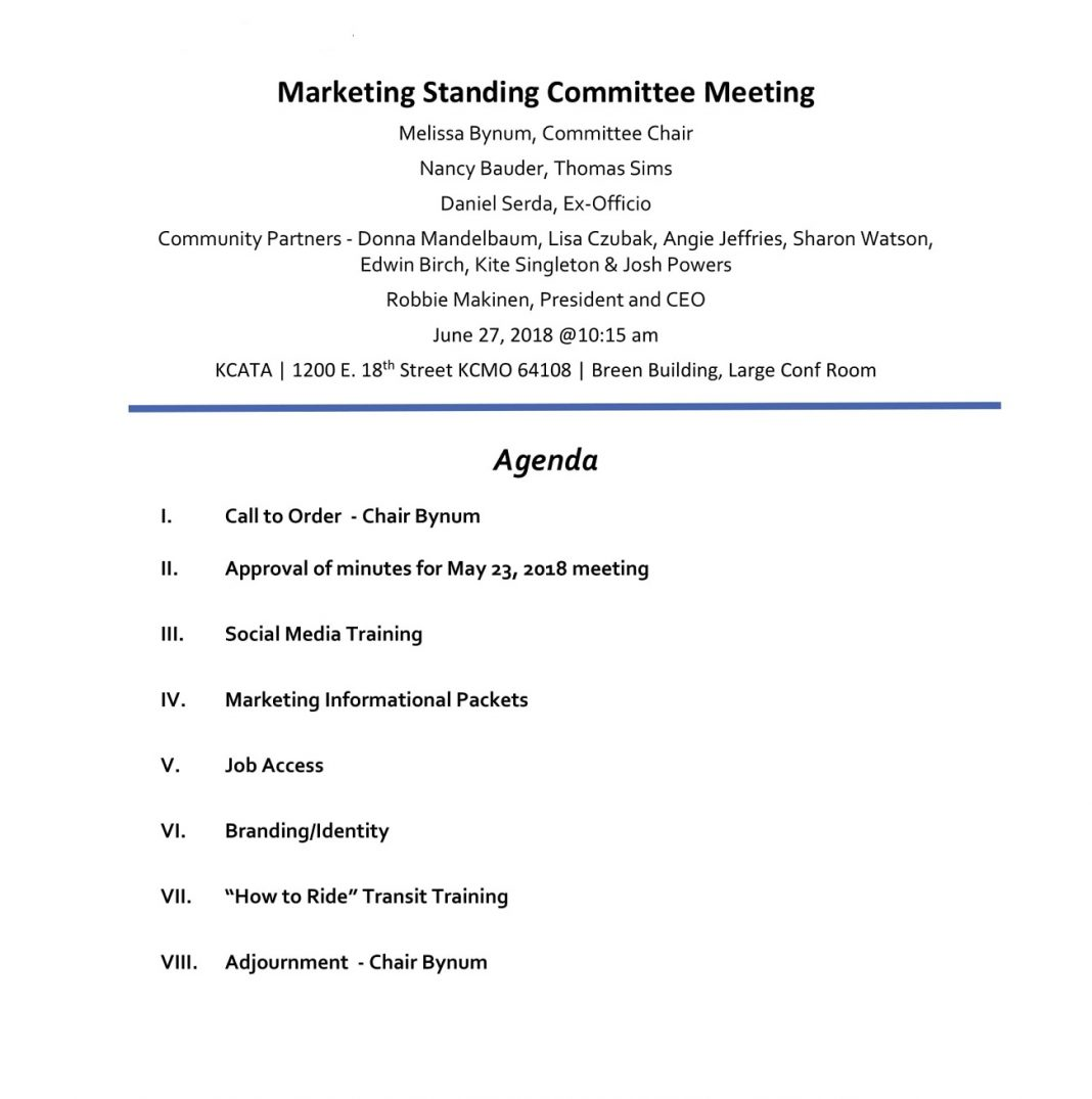 Marketing Standing Committee Meeting Agenda Sample Content Social Media Template Of  Example Large