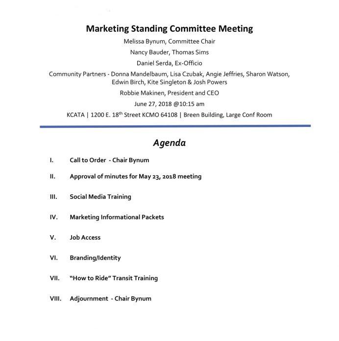 Marketing Standing Committee Meeting Agenda Agenda Marketing Meeting Agenda Template Example