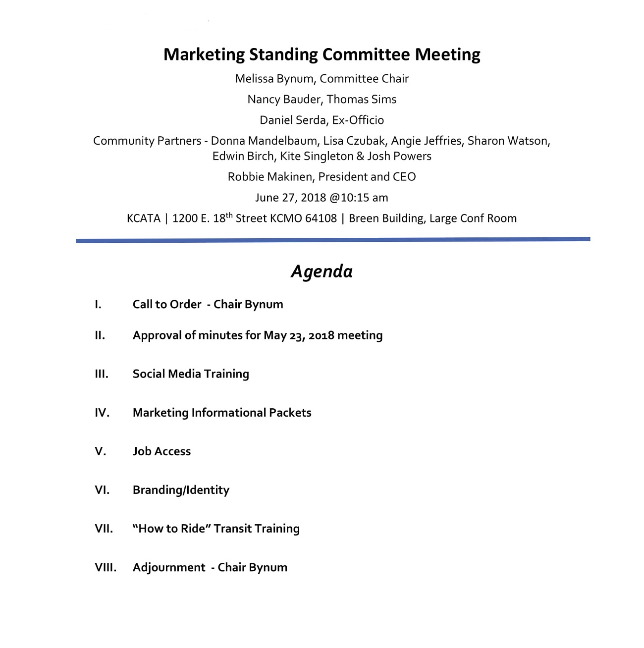 Marketing Standing Committee Meeting Agenda Sample Content Social Media Template Of  Example Full