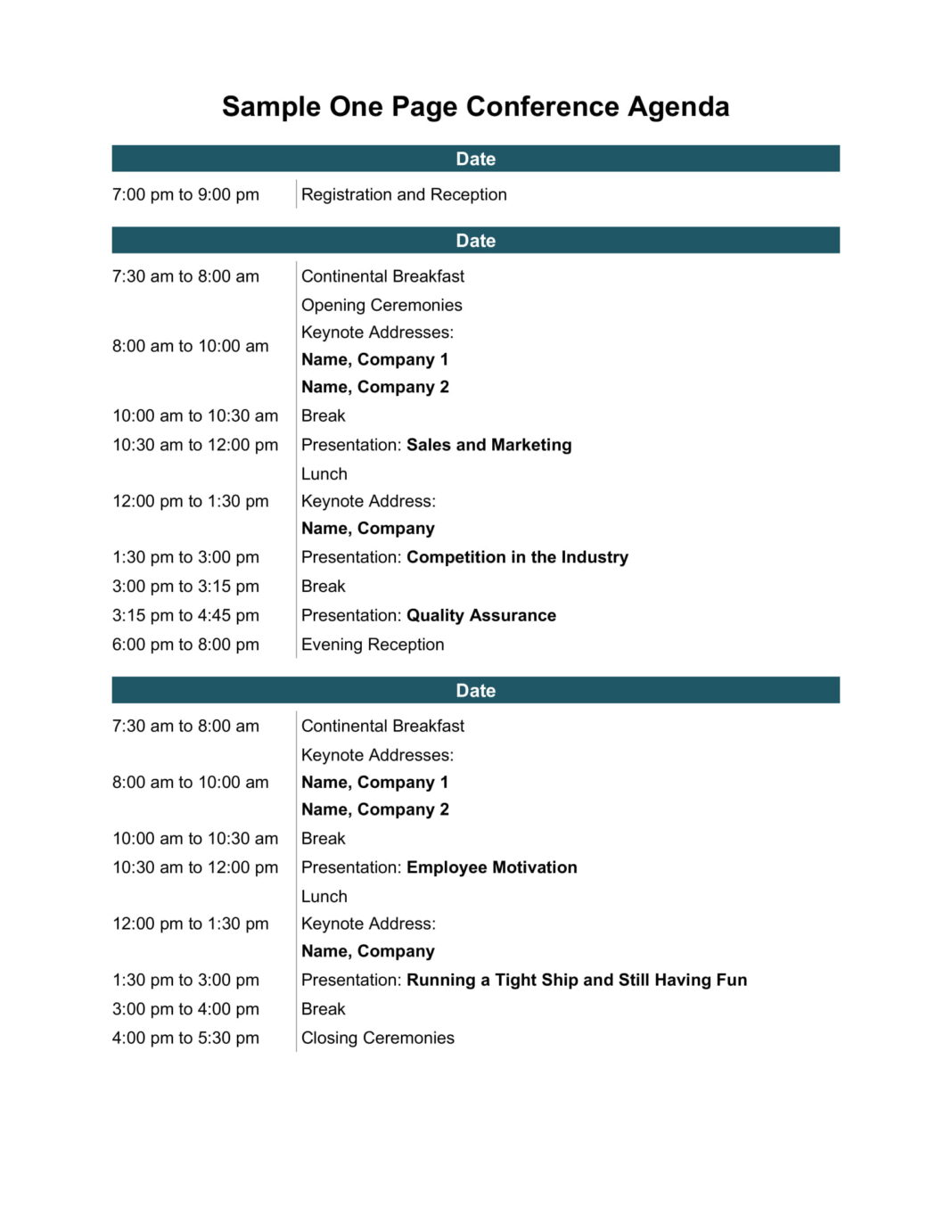 One Page Conference Agenda Word Template Pdf - Free Download Virtual One-day Design  Example Large