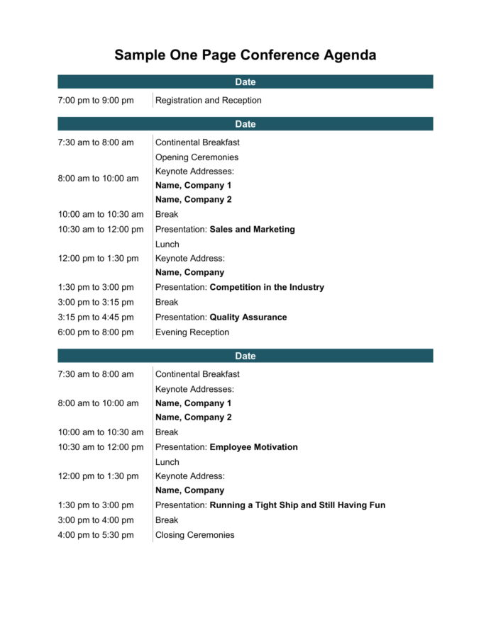 One Page Conference Agenda Word Template Agenda Example Conference Agenda Template
