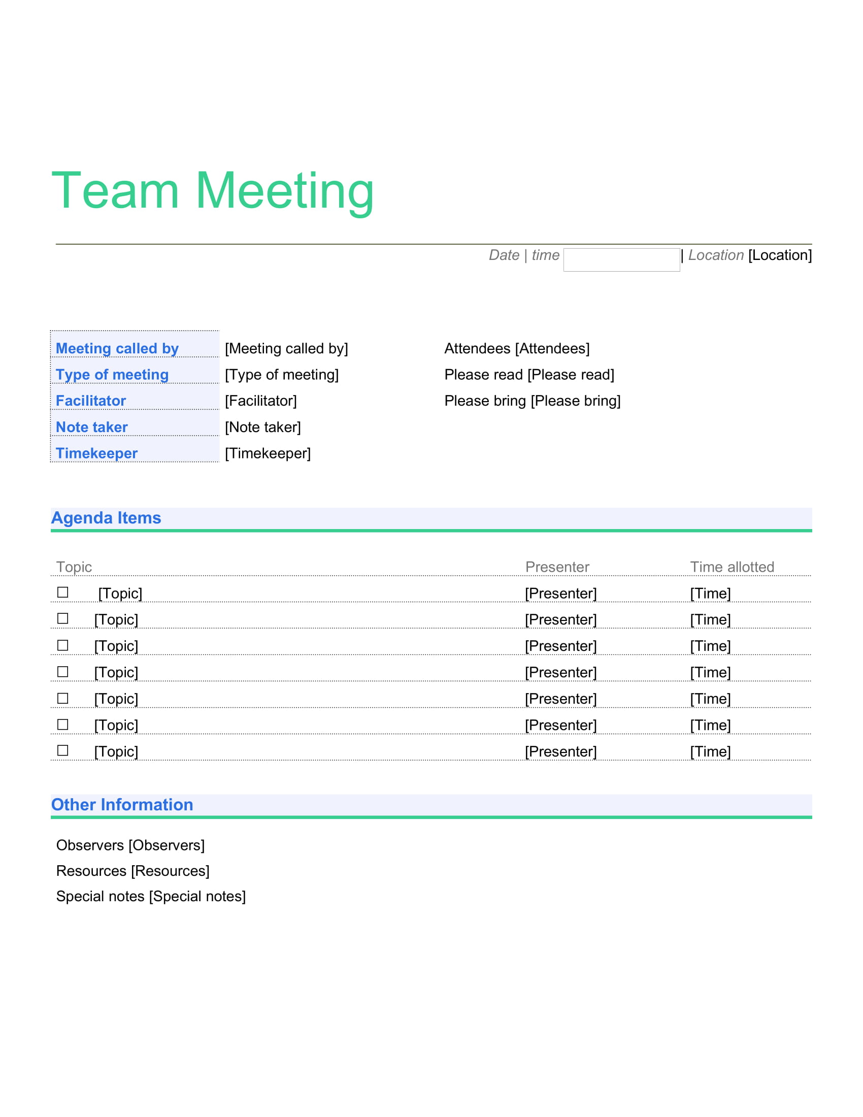 One Page Team Meeting Agenda Creative Template Weekly Word Monthly Best Excel  Example Full