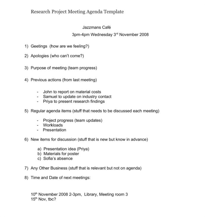 Research Project Meeting Agenda Template Agenda Research Agenda Template Example