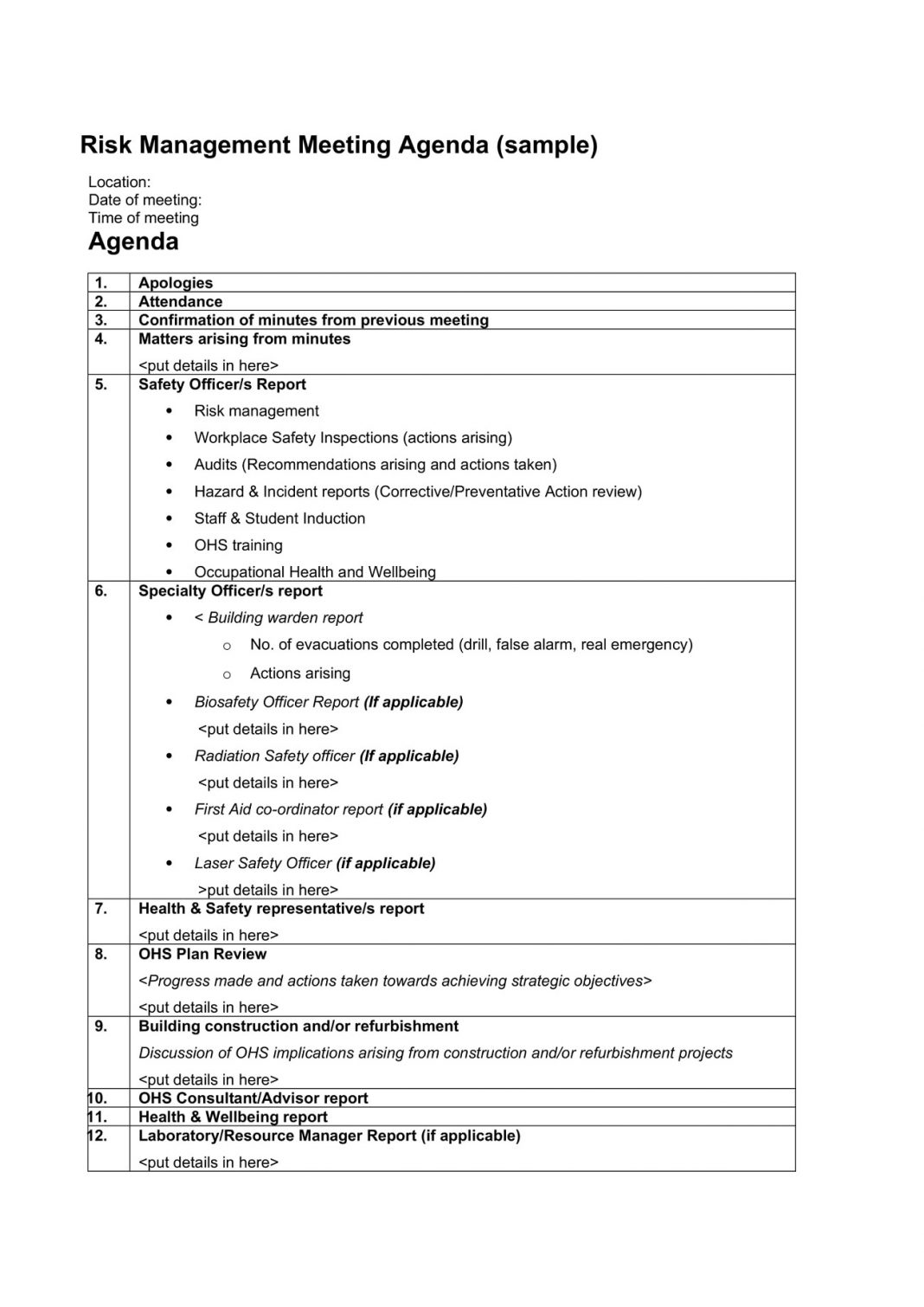Risk Management Meeting Agenda Sample Template Word Monthly Topics Case  Example Large