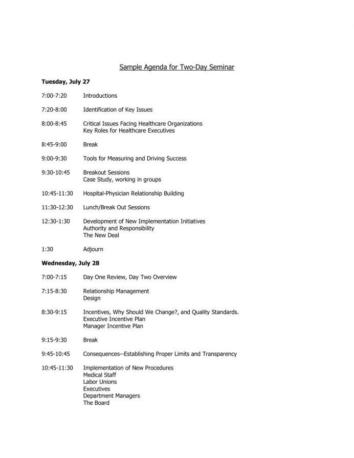 Sample Agenda for Two-Day Seminar Agenda Sample Event Agenda Template