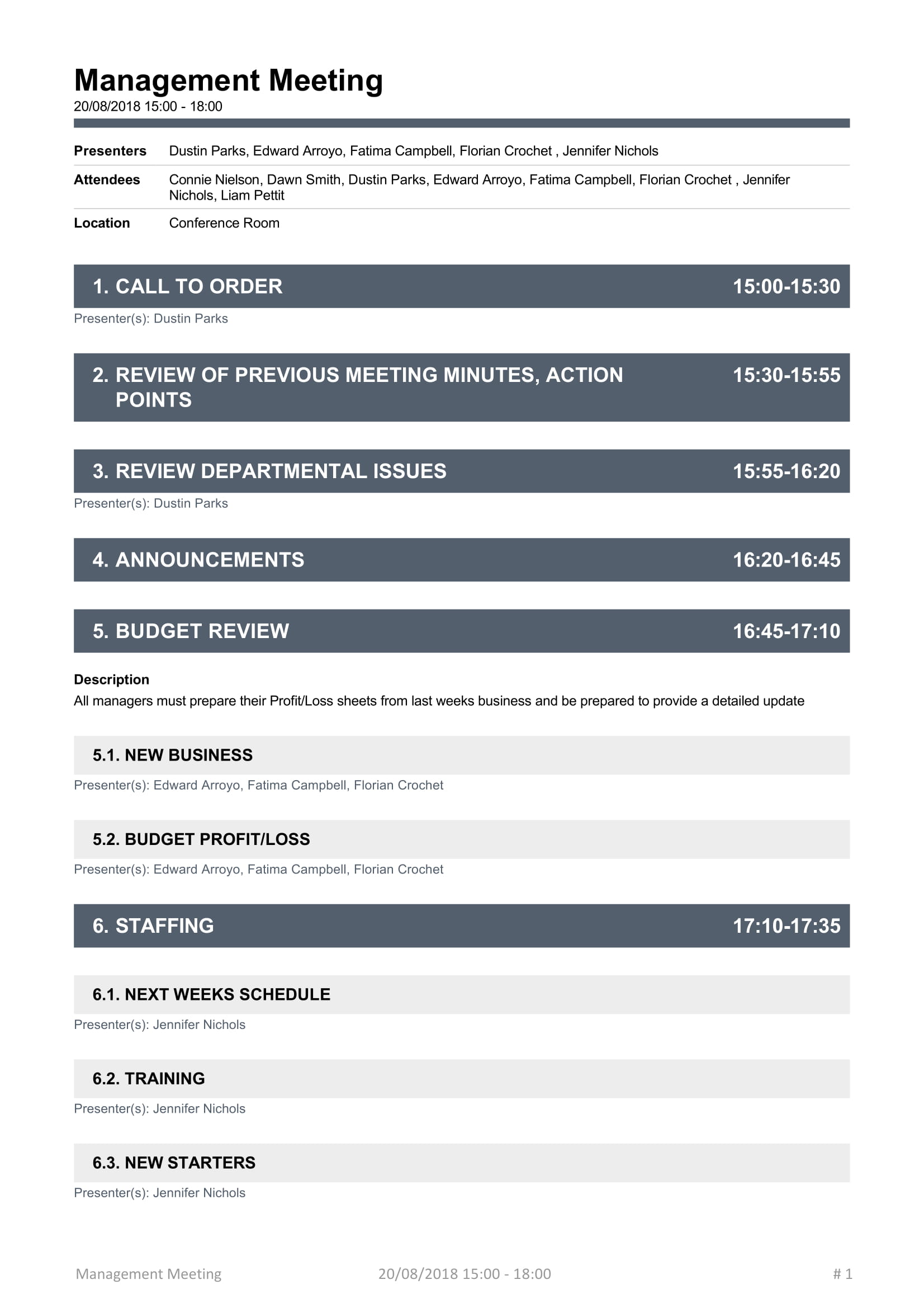 Simple Management Meeting Agenda Template Word Monthly Topics Case  Example Full