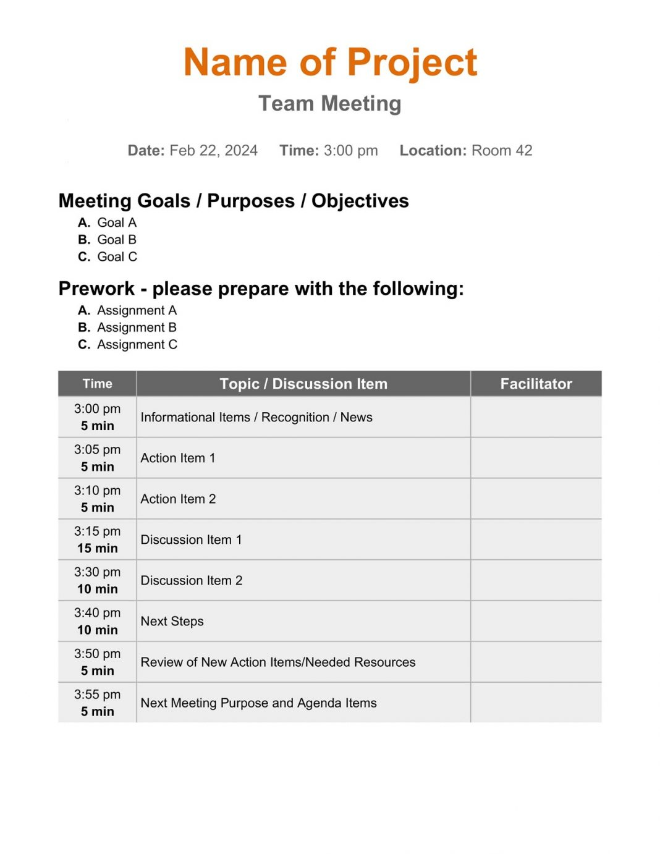 Simple Team Meeting Agenda Creative Template Weekly Word Monthly Best Excel  Example Large