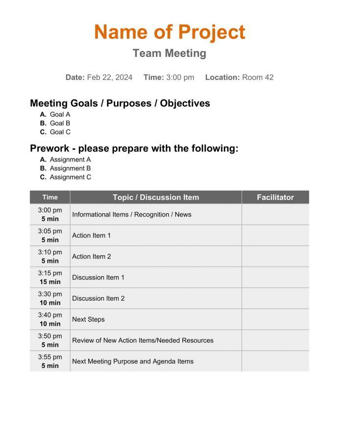 Simple Team Meeting Agenda Agenda Team Meeting Agenda Template Example