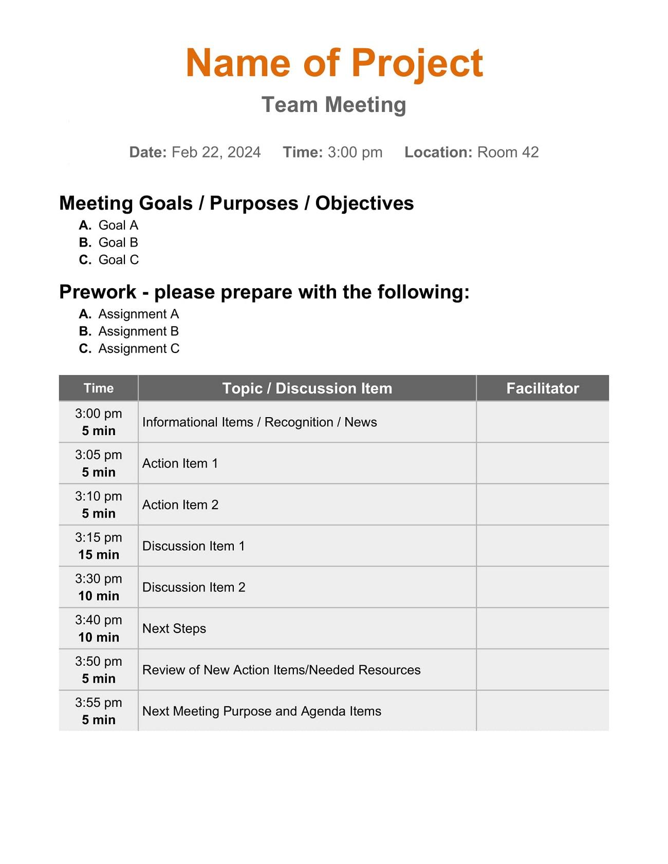 Simple Team Meeting Agenda Creative Template Weekly Word Monthly Best Excel  Example Full