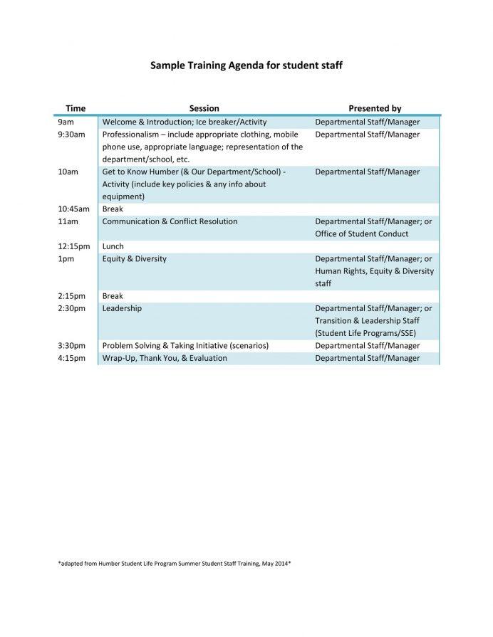 Student Staff Training Agenda Template PDF Example Agenda Sample Training Agenda Template