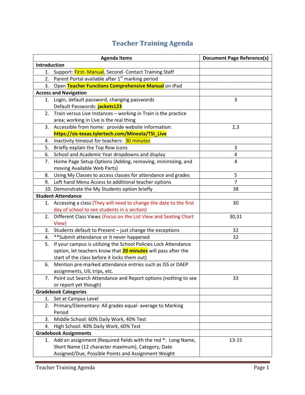 Teacher Training Agenda PDF Template Sample Microsoft Word Ppt How To Create A Pdf Layout  Large