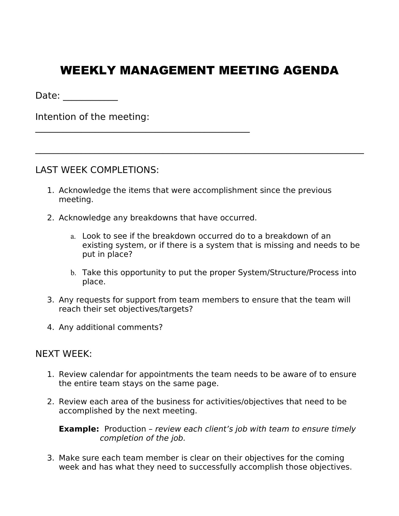 Weekly Management Meeting Agenda Template Word Monthly Topics Case  Example Full