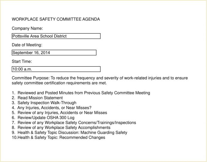 Workplace Safety Agenda Sample Letter Example Safety Meeting Agenda Template