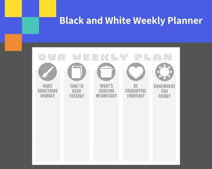 Sample Black and White Weekly Planner Template PDF Schedule Sample Black and White Weekly Planner Template