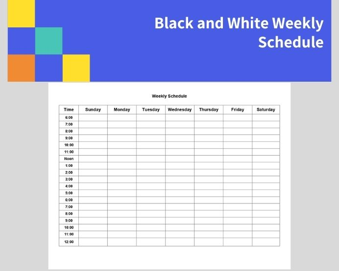 Sample Black And White Weekly Schedule Template PDF Planner Notion Printable