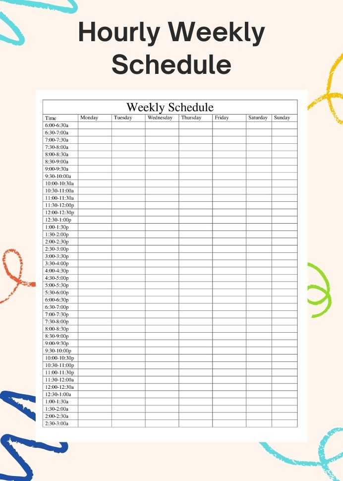 Sample Hourly Weekly Schedule Template PDF Planner Notion Printable