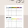 Sample Multicolored Weekly Schedule Template