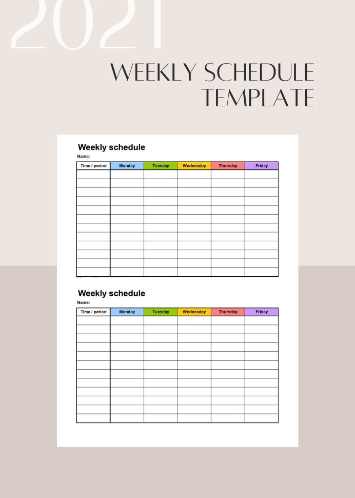 Sample Multicolor Weekly Schedule Template Letter Planner Notion Printable  Multicolored