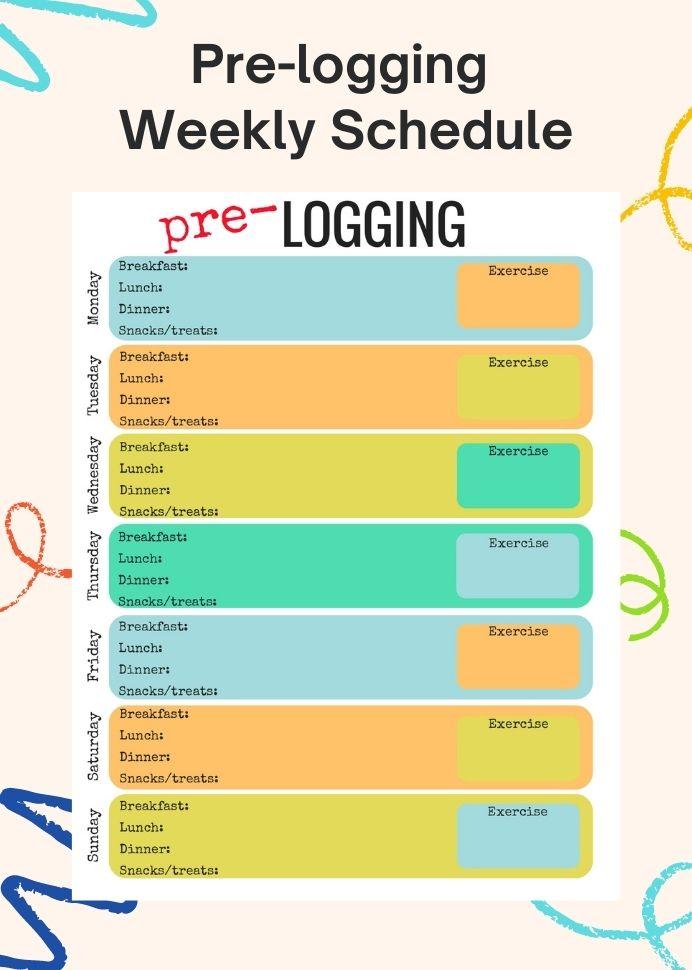 Sample Pre Logging Weekly Schedule Template Pdf Notion Planner Printable  Pre-logging