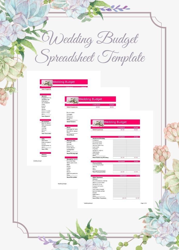 Sample Wedding Budget Spreadsheet Template Worksheet Plan