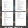 Wedding Shot List Template