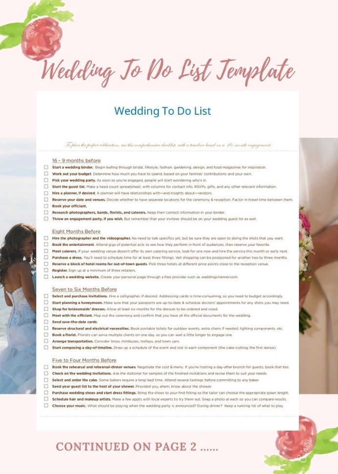 Sample Wedding To Do List Template Checklist Plan Coordinator Worksheet
